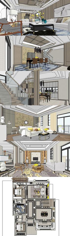现代新中式别墅三层室内案例