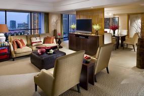 中式豪华酒店客房客厅