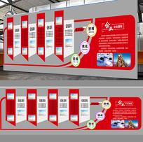 红色企业文化墙展板模板