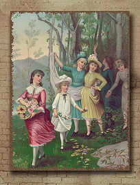 欧美怀旧花园少女油画