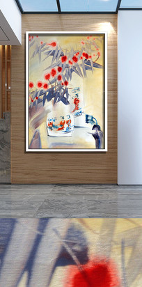 手绘花卉花卉客厅装饰