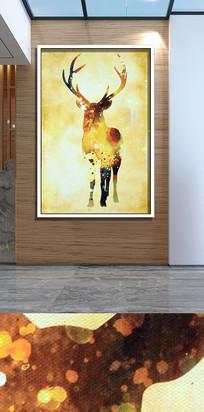手绘麋鹿客厅装饰画