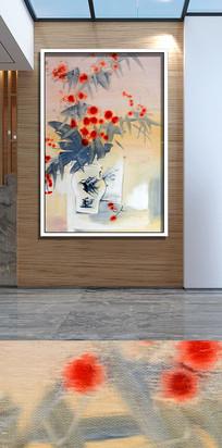 手绘水墨花卉花瓶装饰画