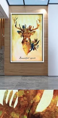 手绘新中式麋鹿客厅装饰画