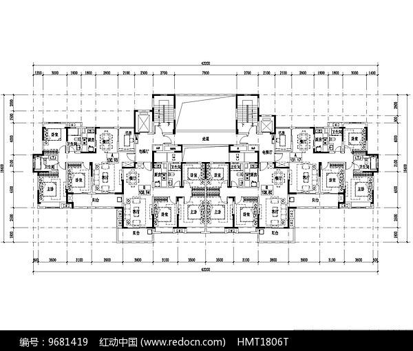 100平米优雅住宅平面图