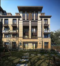 叠层住宅建筑正立面效果图