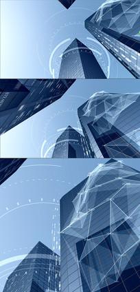 高科技数据网络都市大楼视频素材