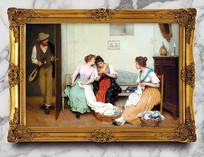 高清宫廷少女油画