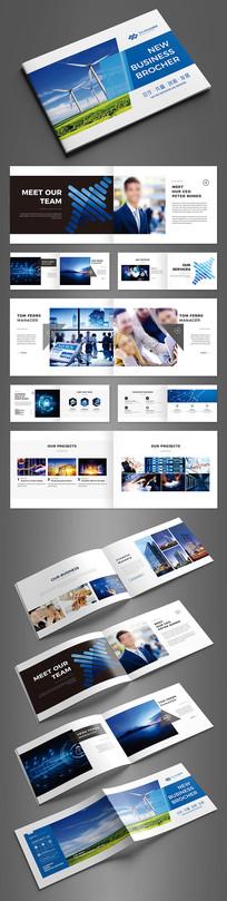 简约蓝色科技横版画册设计模板 AI