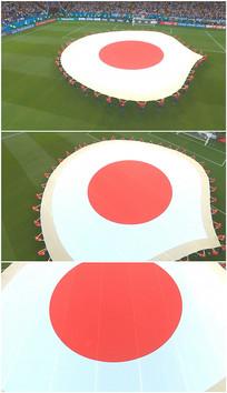 日本国旗图案平铺展开地面视频