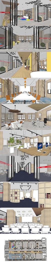 完整的办公室空间设计SU模型
