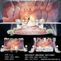 唯美流沙婚礼舞台背景效果图