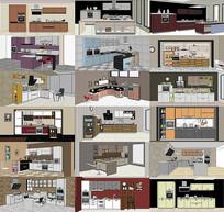 现代板式烤漆厨柜配饰SU模型