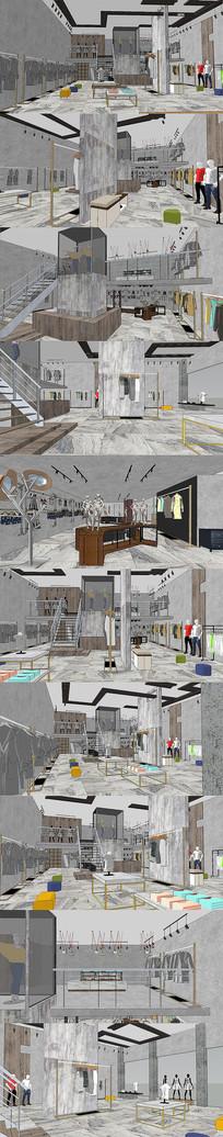 现代工业风服装店设计SU模型