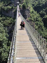 现代金属网木吊桥