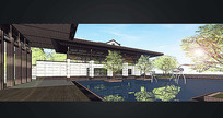 新中式建筑庭院效果图 JPG