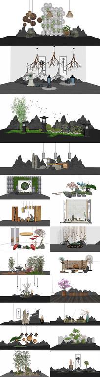 新中式园艺小品集设计SU模型