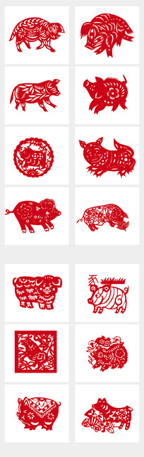 猪年剪纸印花图案集合