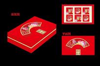 红色中秋月饼包装盒设计