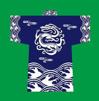 蓝色日本和服印花图案