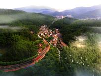 景区村庄鸟瞰图