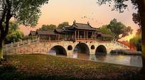 古典园林廊桥意向图 PSD