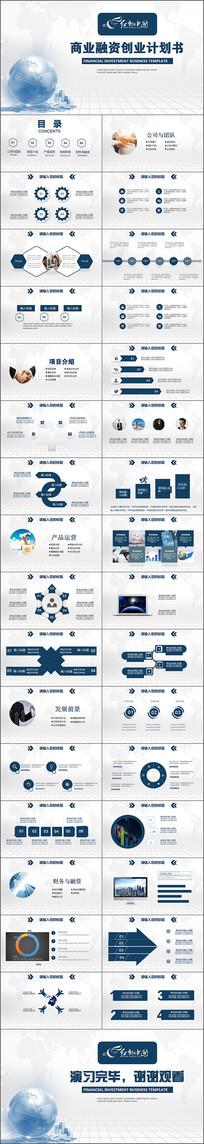 商业融资创业计划书PPT模版