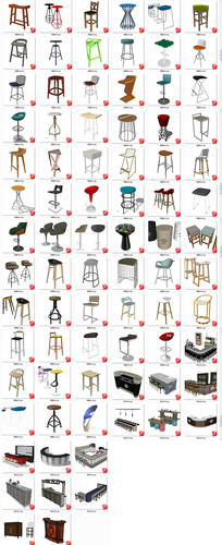 现代家装工装吧台吧凳SU模型
