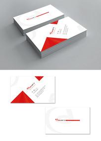 红白色简约广告名片