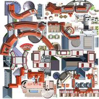 建筑体平面效果图素材
