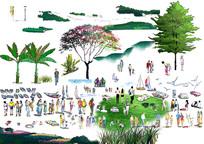 植物人物立面手绘素材