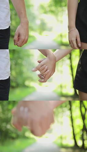 情侣牵手实拍视频素材