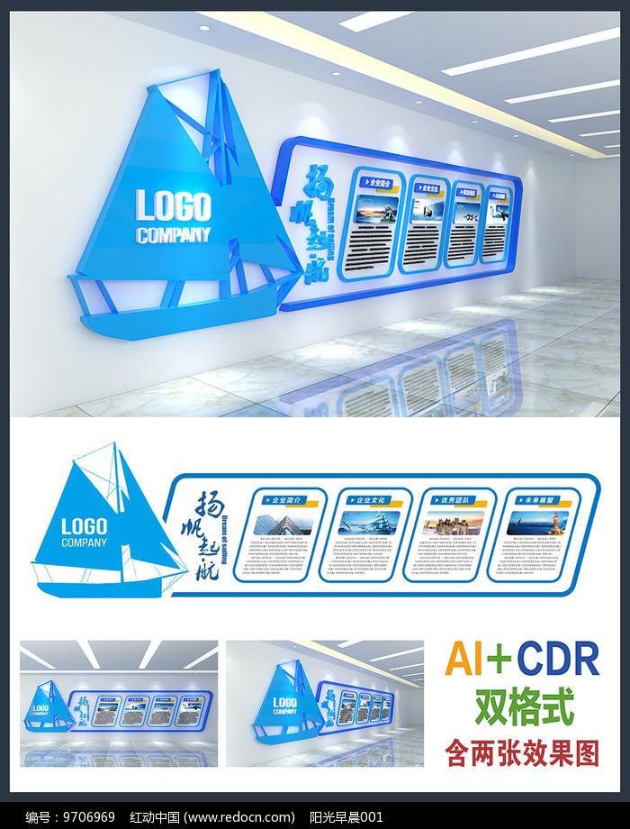 扬帆起航企业文化墙设计图片