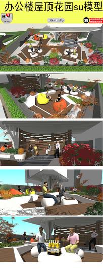 办公楼屋顶花园设计模型