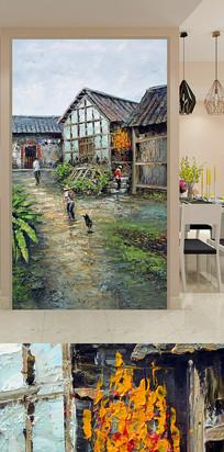 农家小院装饰画背景墙