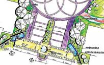 入口景观规划手绘图