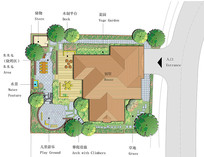 手绘别墅平面图