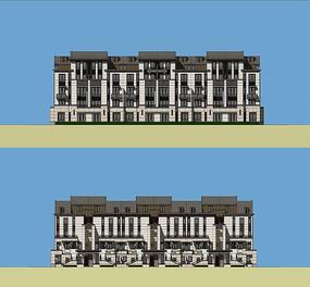别墅住宅建筑彩色立面