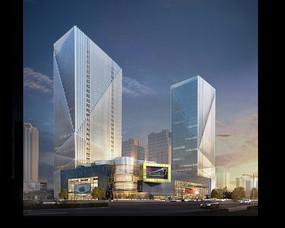 创意商住楼高层建筑效果图