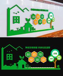 绿色社区文化墙和谐社区展板