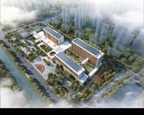 现代公共建筑行政楼鸟瞰效果图 PSD