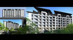 现代小高层建筑效果图