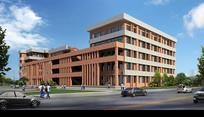 校内行政办公楼建筑效果图 PSD