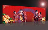 新中式大红金色婚礼照片墙