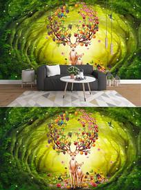 梦幻森林麋鹿电视背景墙