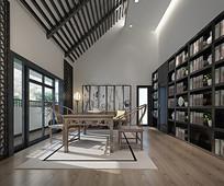 带阳台中式书房