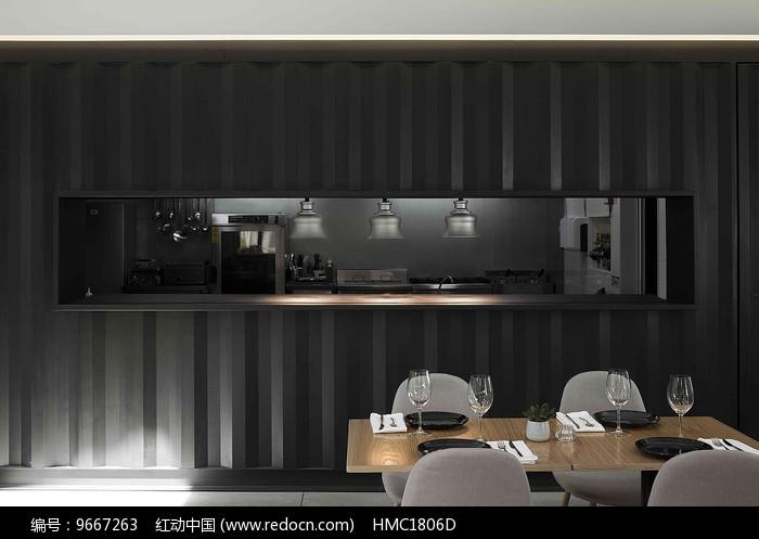简约西餐厅厨房橱窗图片