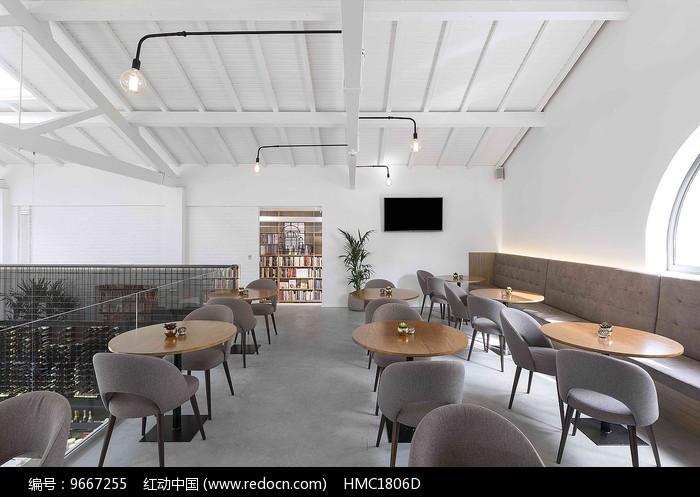 简约西餐厅二楼座位图片