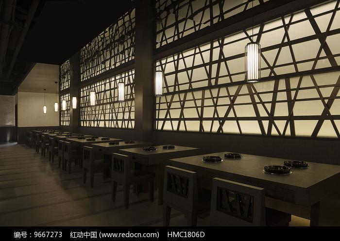 日式火锅店座位区意向图片