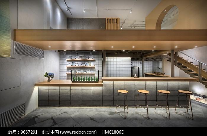 日式汤面店吧台座意向图片